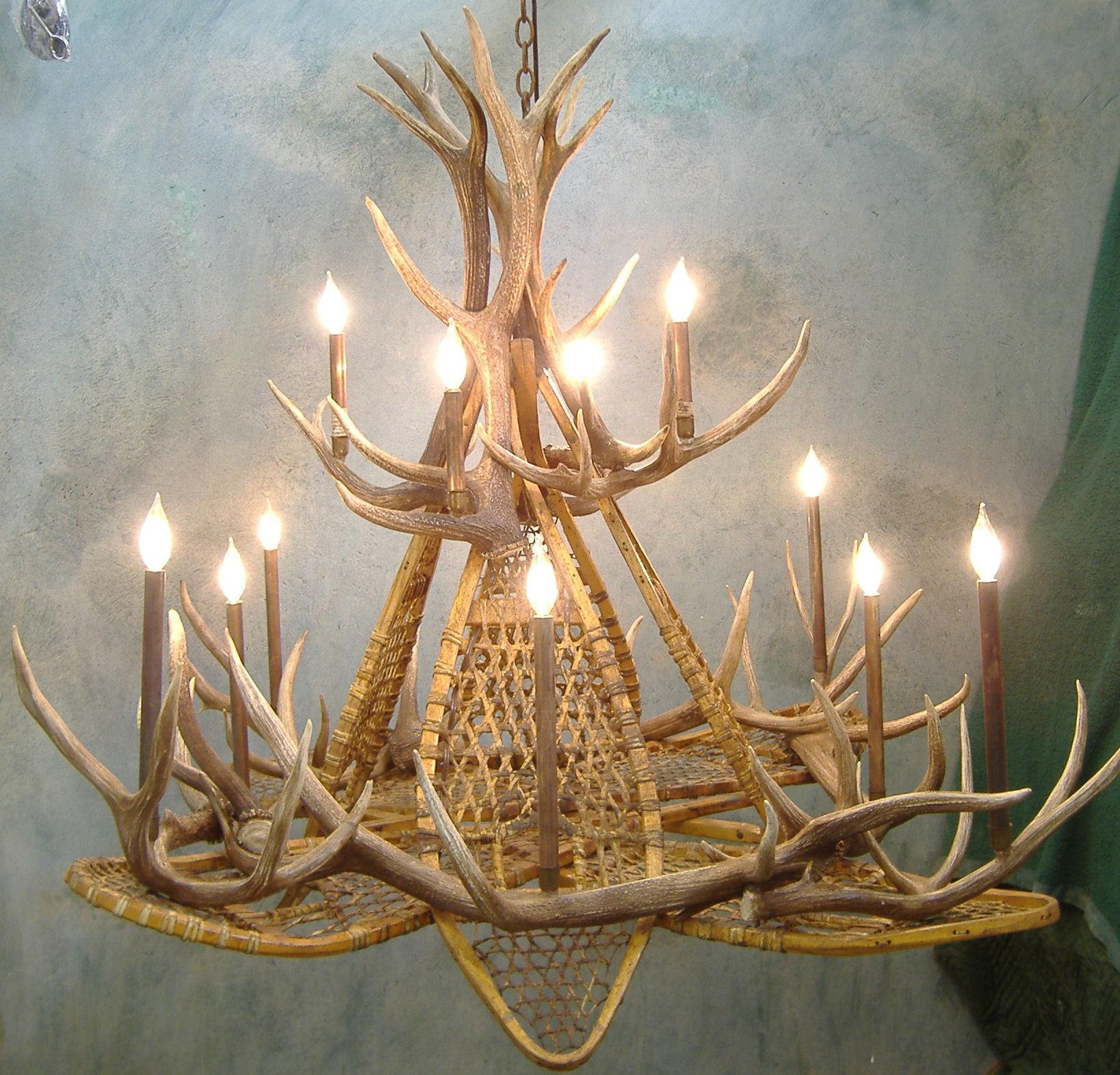peak snowshoe elk antler chandelier 16 light - Antler Chandelier