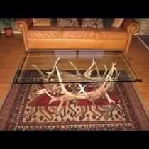 Elk Antler Coffee Table w/ Eagle Carving