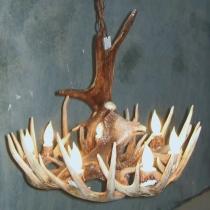 Moose Eagle over Whitetail Deer Antler Chandelier